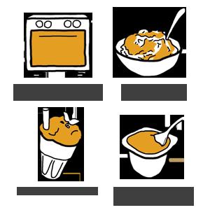 Ilustraciones sobre usos creativos de las compotas Pom'bel