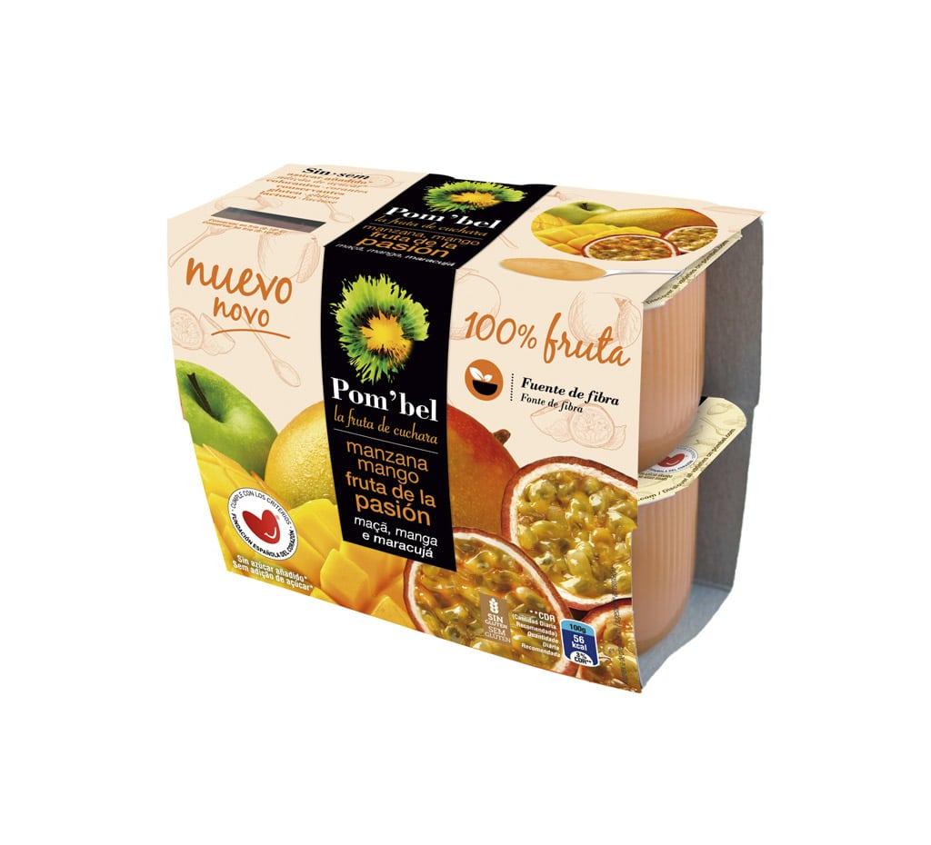 Pack de compotas de manzana, mango y fruta de la pasión pom'bel