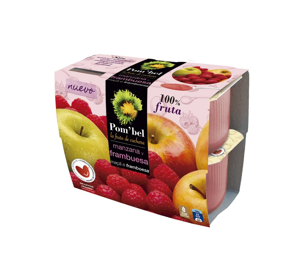 Pack de compotas de manzana y frambuesa pom'bel
